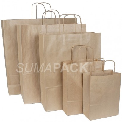 Bolsas de papel kraft asa retorcida