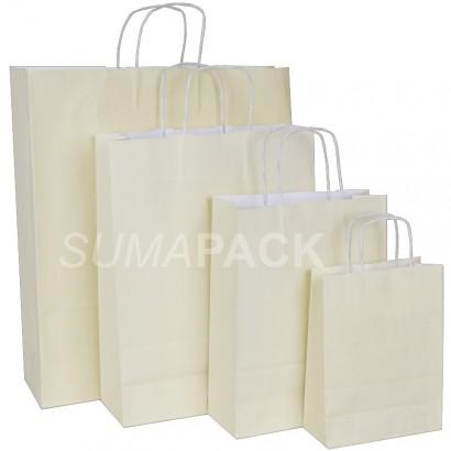 Bolsas de papel celulosa beige asa retorcida