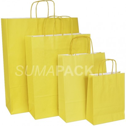 Bolsas de papel celulosa amarillo asa retorcida