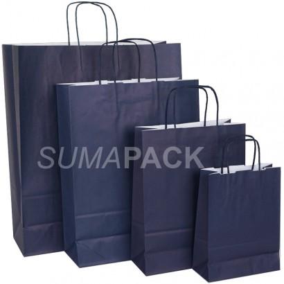 Bolsas de papel celulosa azul oscuro asa retorcida
