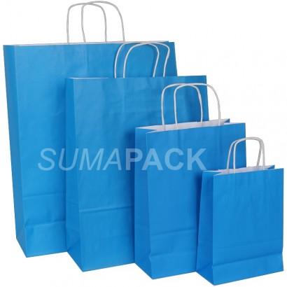 Bolsas de papel celulosa azul claro asa retorcida