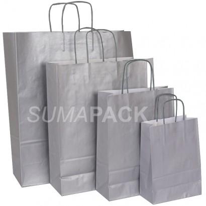 Bolsas de papel celulosa plata asa retorcida