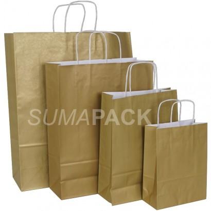 Bolsas de papel celulosa oro asa retorcida