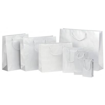 Bolsas de papel modelo ELEGANT blanco plastificado brillo asa cordón