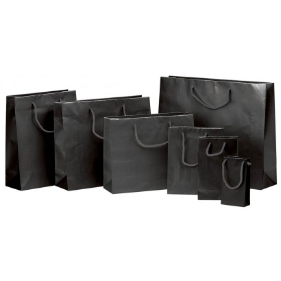 Bolsas de papel modelo ELEGANT negro plastificado brillo asa cordón