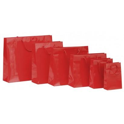 Bolsas de papel modelo ELEGANT rojo plastificado brillo asa cordón