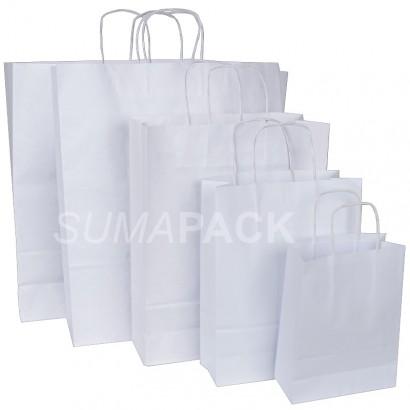 Bolsas de papel celulosa blanco asa retorcida