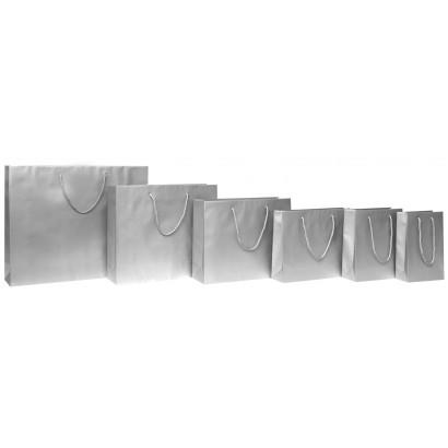 Bolsas de papel modelo ELEGANT plata plastificado mate asa cordón