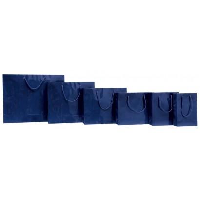Bolsas de papel modelo ELEGANT azul plastificado brillo asa cordón