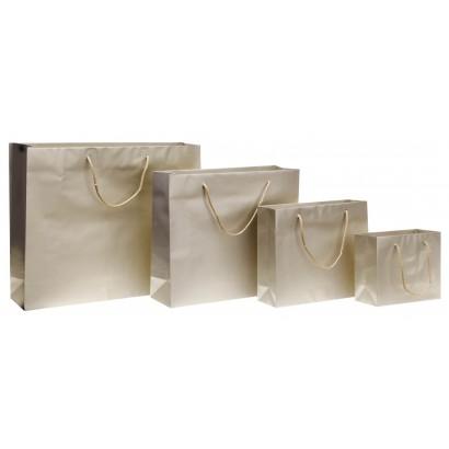 Bolsas de papel modelo ROYAL platino plastificado brillo asa cordón