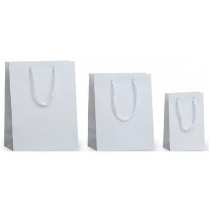 Bolsas de papel modelo RAYAS BLANCAS asa cordón