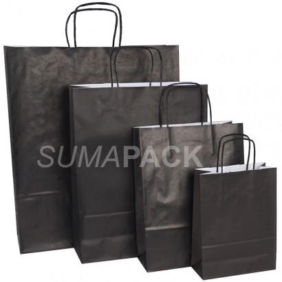 Bolsas de papel celulosa negro asa retorcida