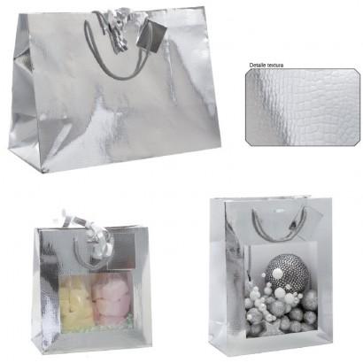 Bolsas de papel modelo KROKO plata asa cordón