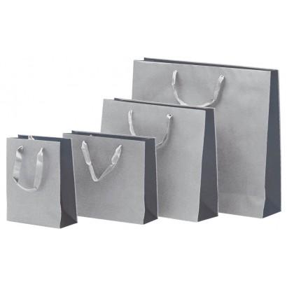Bolsas de papel modelo BICOLOR gris asa cordón