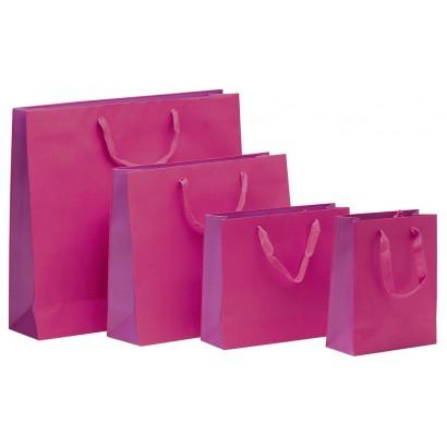 Bolsas de papel modelo BICOLOR fucsia asa cordón