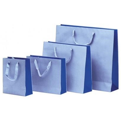 Bolsas de papel modelo BICOLOR azul asa cordón