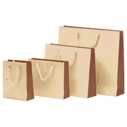 Bolsas de papel modelo BICOLOR marrón asa cordón