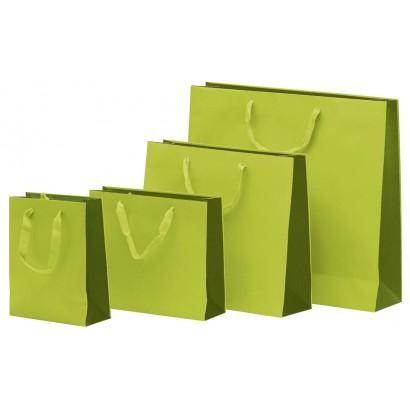 Bolsas de papel modelo BICOLOR verde asa cordón