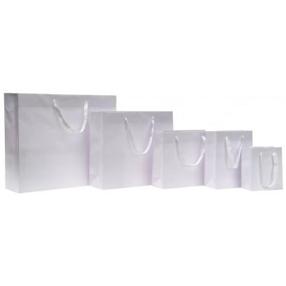 Bolsas de papel modelo GRAFFITI blanco asa cordón