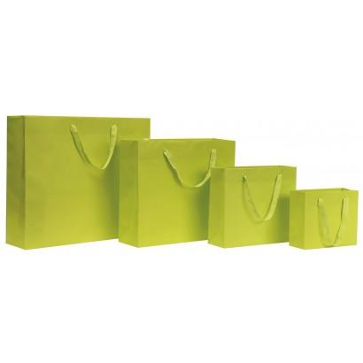 Bolsas de papel modelo GRAFFITI verde pistacho asa cordón