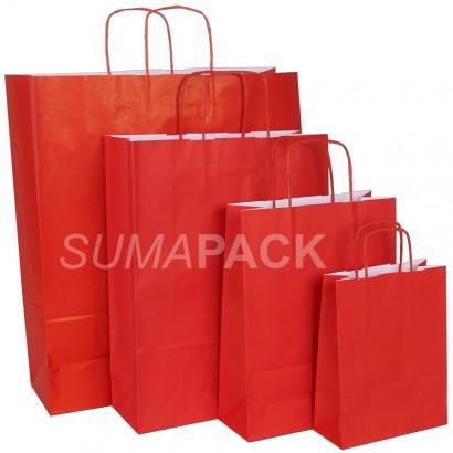Bolsas de papel celulosa rojo asa retorcida