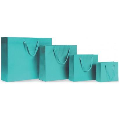 Bolsas de papel modelo GRAFFITI turquesa asa cordón