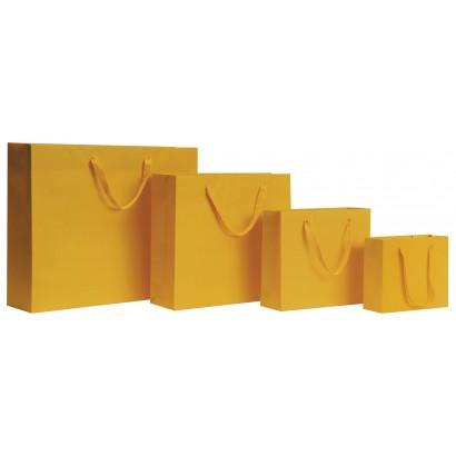 Bolsas de papel modelo GRAFFITI amarillo asa cordón