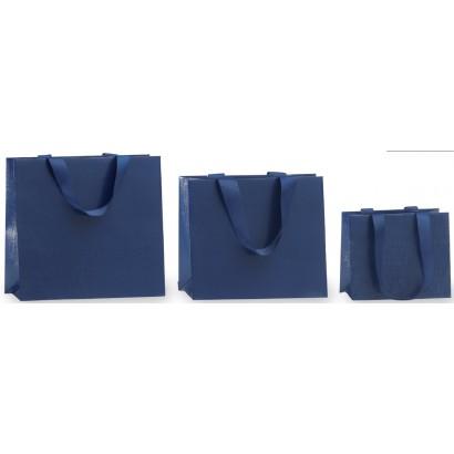 Bolsas de papel modelo LUXOR azul asa cordón