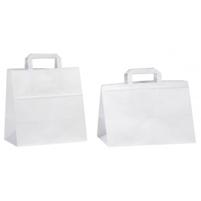 Bolsas de papel blanco linea pasteleria asa plana