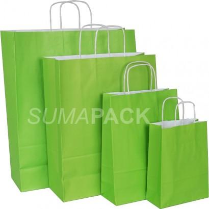 Bolsas de papel celulosa verde pistacho asa retorcida