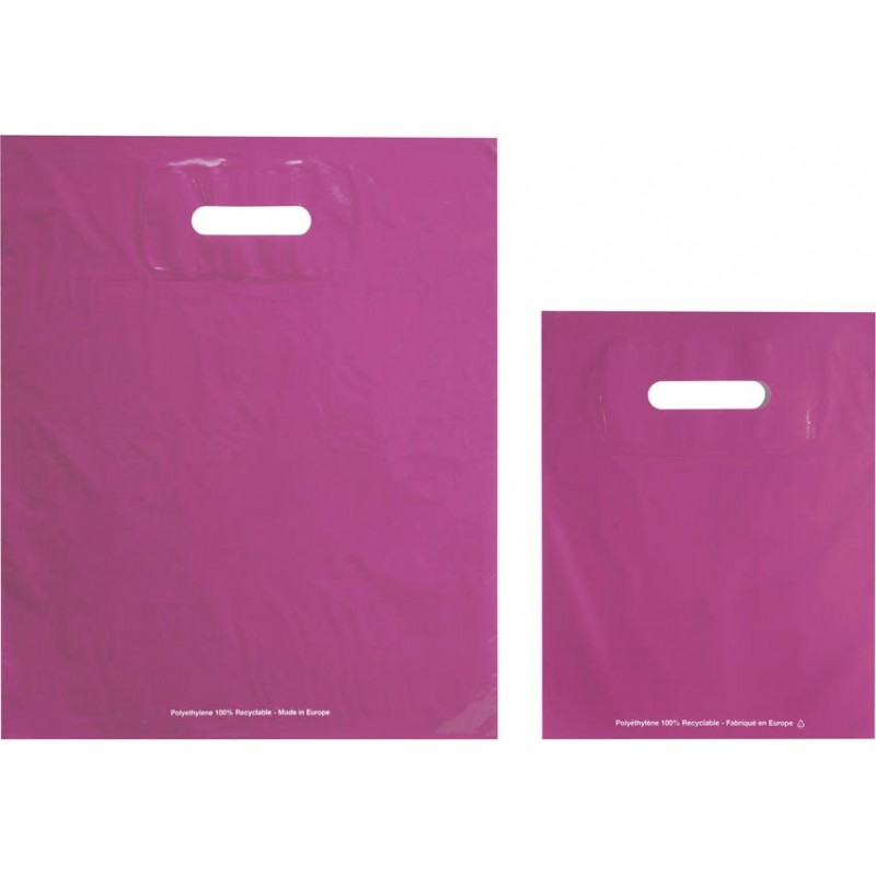 Bolsas de plástico ECO FESTIVAL rosa asa troquelada
