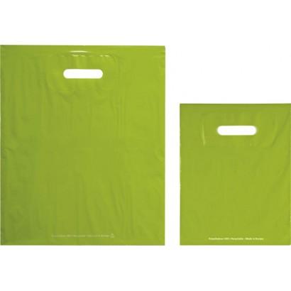 Bolsas de plástico ECO FESTIVAL verde asa troquelada