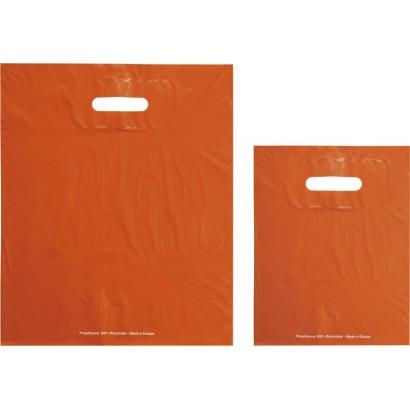 Bolsas de plástico ECO FESTIVAL naranja asa troquelada