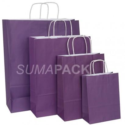 Bolsas de papel celulosa lila asa retorcida