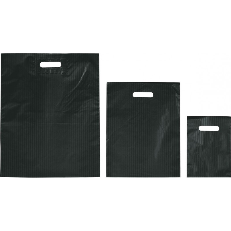 Bolsas de plástico RAYAS negro asa troquelada