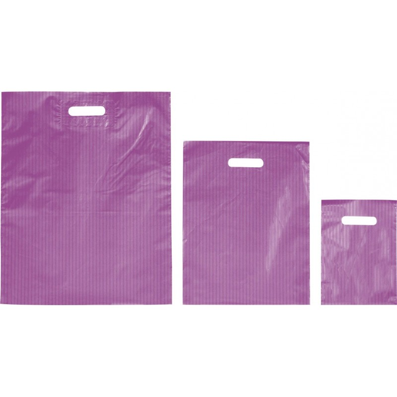 Bolsas de plástico RAYAS lila asa troquelada