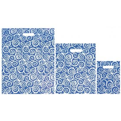 Bolsas de plástico BUCLE azul asa troquelada
