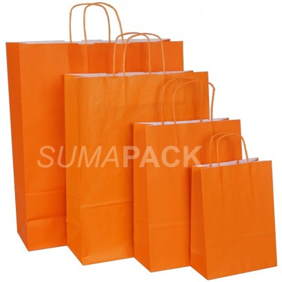 Bolsas de papel celulosa naranja asa retorcida