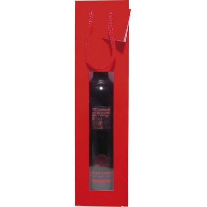 Bolsas para botellas plastificadas rojo con ventana