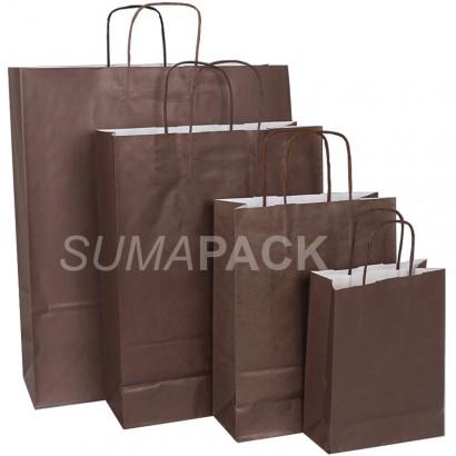 Bolsas de papel celulosa marrón asa retorcida