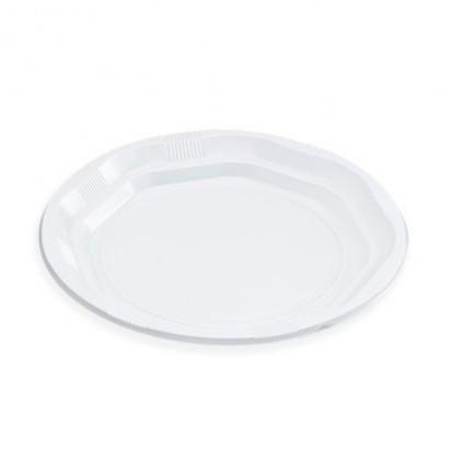 Platos de plástico blanco...