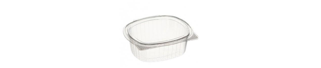 Envases transparentes de polipropileno con tapa bisagra
